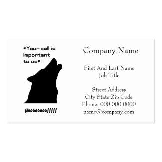 Silueta de la llamada de lobo tarjetas de visita