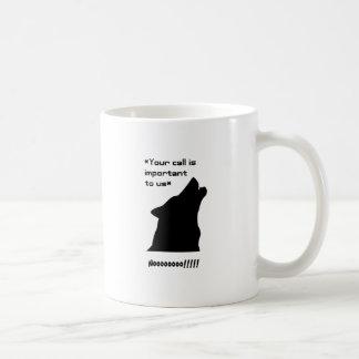 Silueta de la llamada de lobo taza de café