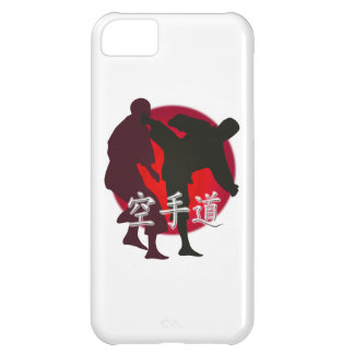 Silueta de la lucha del karate, fondo rojo del carcasa para iPhone 5C