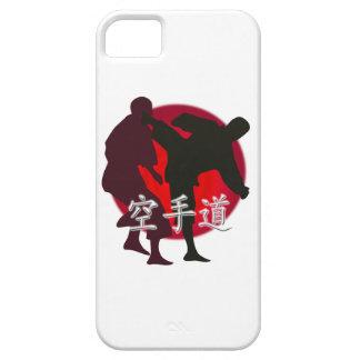 Silueta de la lucha del karate, fondo rojo del funda para iPhone SE/5/5s