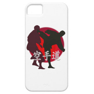 Silueta de la lucha del karate, fondo rojo del iPhone 5 fundas