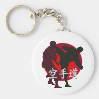 Silueta de la lucha del karate, fondo rojo del llavero redondo tipo pin
