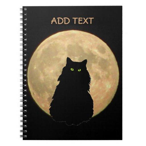 Silueta de la Luna Llena y del gato negro Libretas
