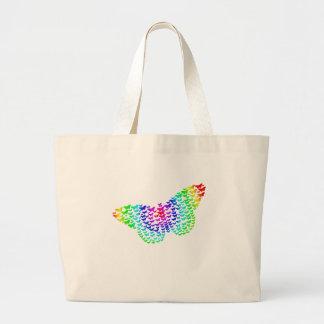 Silueta de la mariposa del arco iris bolsa tela grande