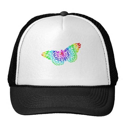 Silueta de la mariposa del arco iris gorras