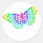 Silueta de la mariposa del arco iris etiqueta redonda