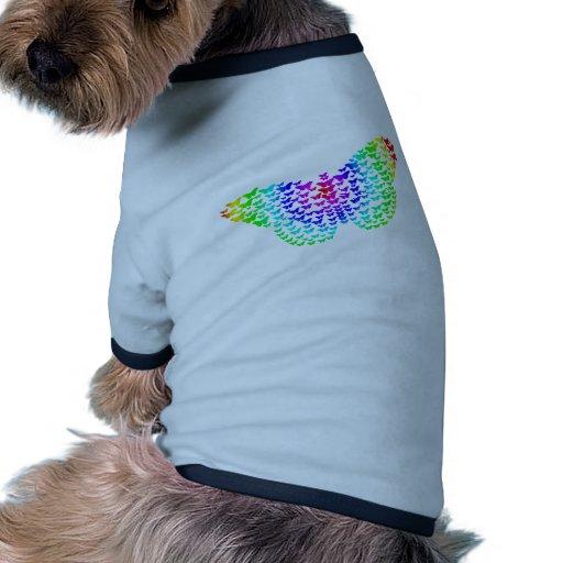 Silueta de la mariposa del arco iris camiseta con mangas para perro
