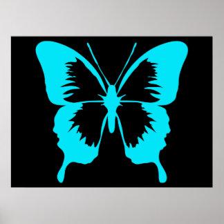 Silueta de la mariposa del azul de cielo que agita impresiones