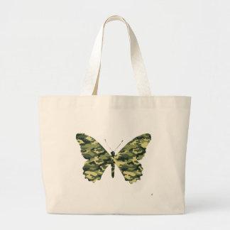 Silueta de la mariposa del camuflaje bolsa tela grande
