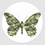 Silueta de la mariposa del camuflaje etiqueta
