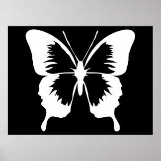 Silueta de la mariposa que agita poster