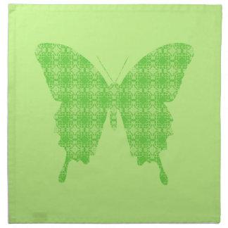 Silueta de la mariposa verde lima servilletas