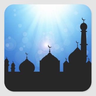 Silueta de la mezquita con el resplandor solar - pegatina cuadrada