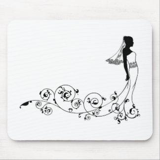 Silueta de la moda del boda de la novia tapete de raton