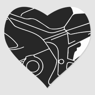 silueta de la motocicleta pegatina en forma de corazón