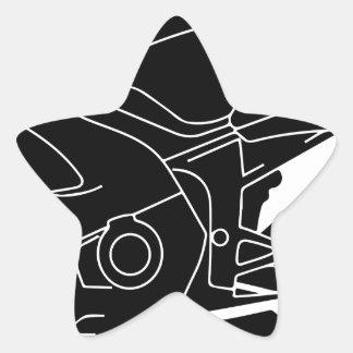 silueta de la motocicleta pegatina en forma de estrella