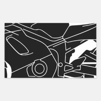 silueta de la motocicleta pegatina rectangular