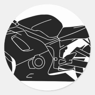 silueta de la motocicleta pegatina redonda
