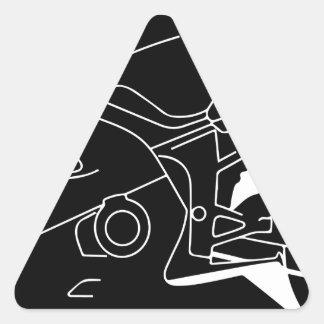 silueta de la motocicleta pegatina triangular