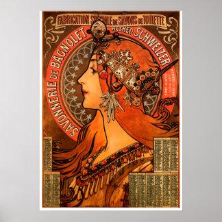 Silueta de la mujer de Alfons Mucha Póster
