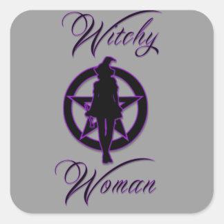 Silueta de la mujer de Witchy con el pentáculo Pegatina Cuadrada