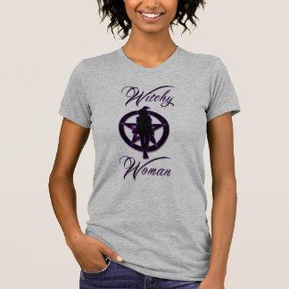 Silueta de la mujer de Witchy con el pentáculo Remeras