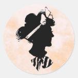 Silueta de la mujer del vintage del día de madre etiquetas redondas