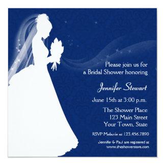 Silueta de la novia, azul marino, invitación de la