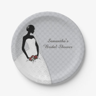 Silueta de la novia, gris plato de papel de 7 pulgadas
