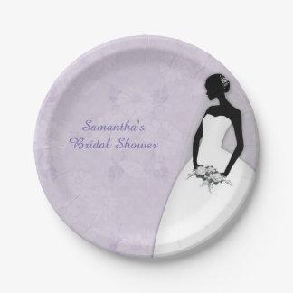 Silueta de la novia, lavanda plato de papel de 7 pulgadas