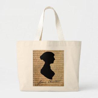 Silueta de la página de Jane Austen Bolsa Tela Grande