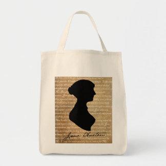 Silueta de la página de Jane Austen Bolsas Lienzo