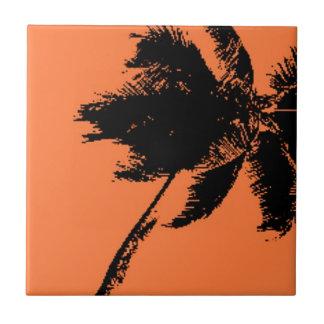 Silueta de la palmera azulejo cuadrado pequeño