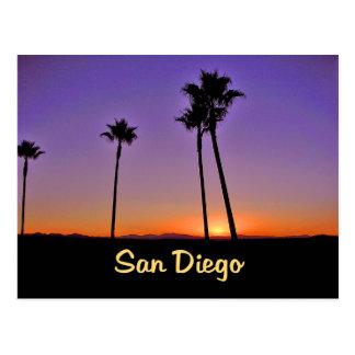 Silueta de la palmera en San Diego Tarjeta Postal