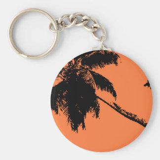 Silueta de la palmera llavero redondo tipo pin