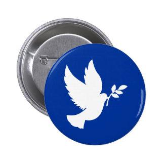 Silueta de la paloma de la paz pin redondo de 2 pulgadas