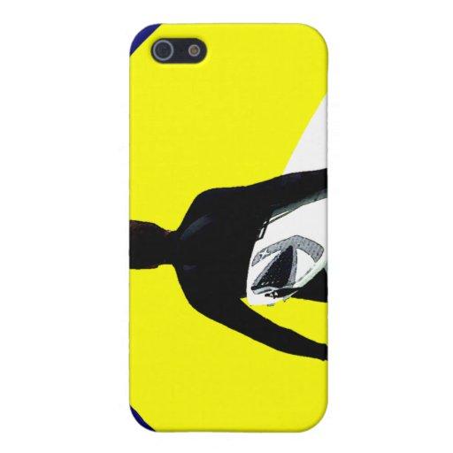 Silueta de la persona que practica surf iPhone 5 carcasa