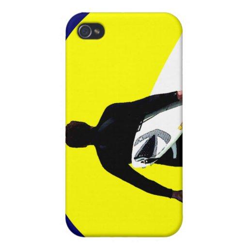 Silueta de la persona que practica surf iPhone 4 cárcasa