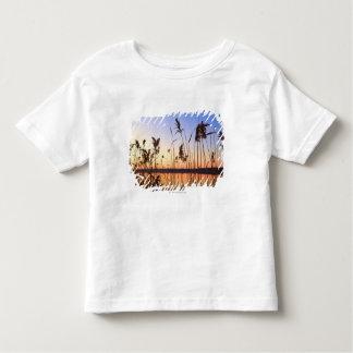 Silueta de la planta por puesta del sol de la tshirt