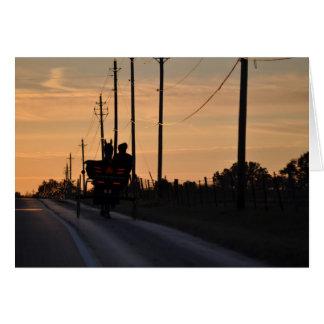 Silueta de la puesta del sol de Amish Tarjeta De Felicitación