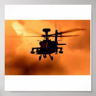 Silueta de la puesta del sol de Apache Póster