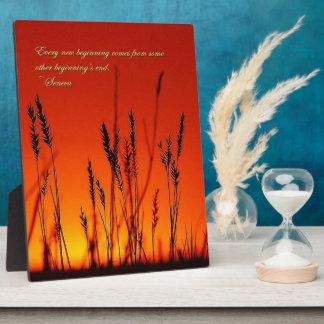 Silueta de la puesta del sol inspirada placas con fotos