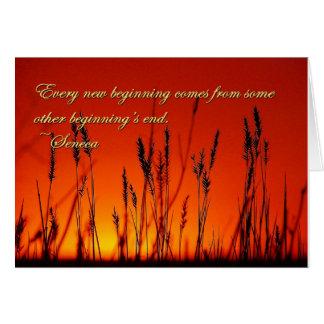 Silueta de la puesta del sol inspirada tarjeta de felicitación