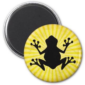 Silueta de la rana; amarillo imán de frigorífico