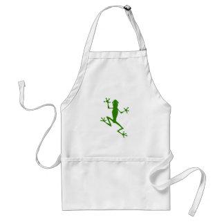 Silueta de la rana verde que sube delantales