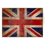 Silueta de la reina Elizabeth II en bandera BRITÁN Tarjetón