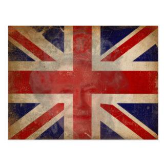 Silueta de la reina Elizabeth II en bandera Tarjetas Postales