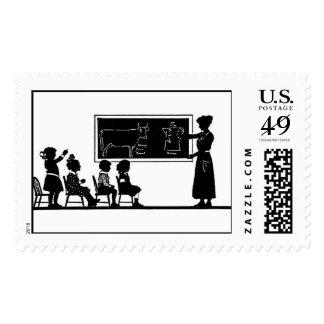 Silueta de la sala de clase timbres postales