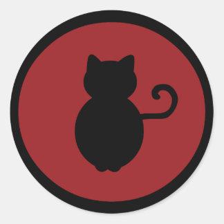 Silueta de la señal del gato etiqueta redonda