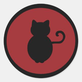 Silueta de la señal del gato pegatinas redondas